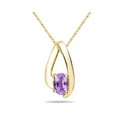 Amethyst Loop Pendant Necklace 10K Yellow Gold