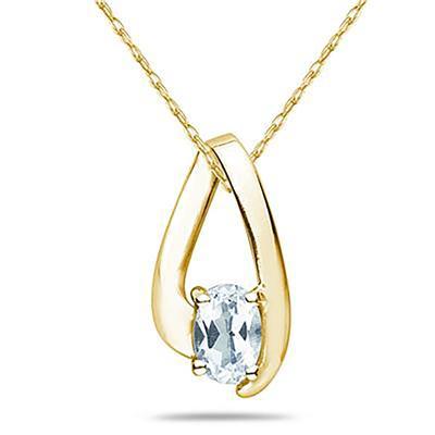 Aquamarine Loop Pendant Necklace 10K Yellow Gold