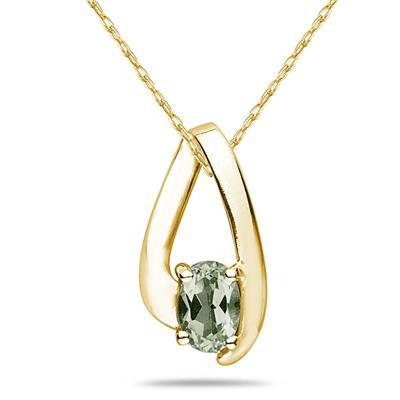 Green Amethyst  Loop Pendant Necklace 10K Yellow Gold