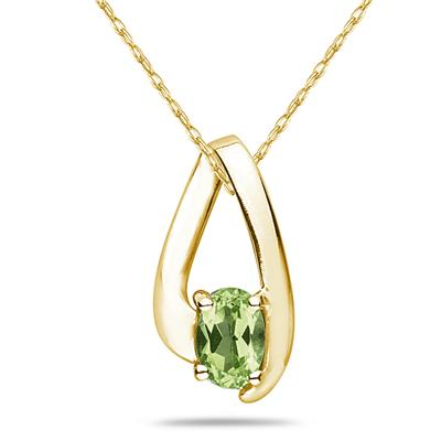 Peridot Loop Pendant Necklace 10K Yellow Gold