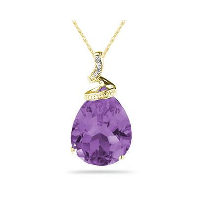10.25ct Pear Shaped Amethyst & Diamond Pendant in 10K Yellow Gold