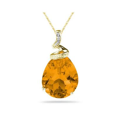 5 Carat Pear Shaped Citrine & Diamond Pendant in 10K Yellow Gold