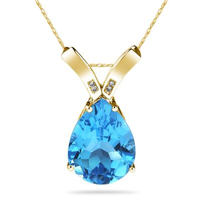 10 1/4 Carat Pear Shaped Blue Topaz & Diamond Pendant in 10K Yellow  Gold