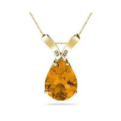 10.25ct Pear Shaped Citrine & Diamond Pendant in 10K Yellow  Gold
