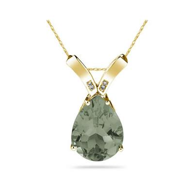 10.25ct Pear Shaped Green Amethyst & Diamond Pendant in 10K Yellow  Gold