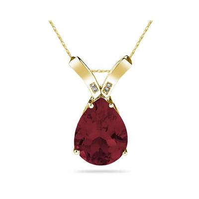 10.25ct Pear Shaped Garnet & Diamond Pendant in 10K Yellow Gold