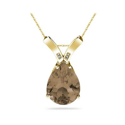 10.25ct Pear Shaped Smokey Quartz & Diamond Pendant in 10K Yellow  Gold