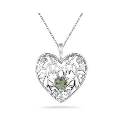 Green Amethyst  and Diamond MOM Pendant in White Gold