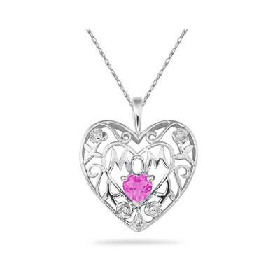 Pink Topaz and Diamond MOM Pendant in White Gold