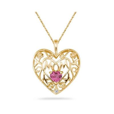 Pink Topaz and Diamond MOM Pendant in Yellow  Gold