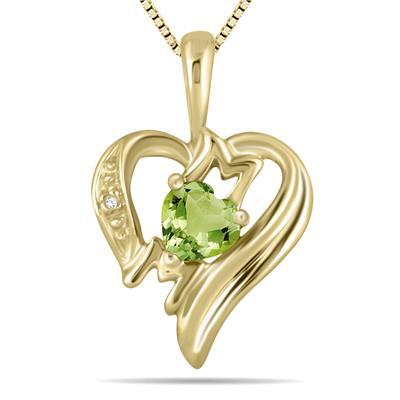 Peridot and Diamond Heart MOM Pendant in 10K Yellow Gold
