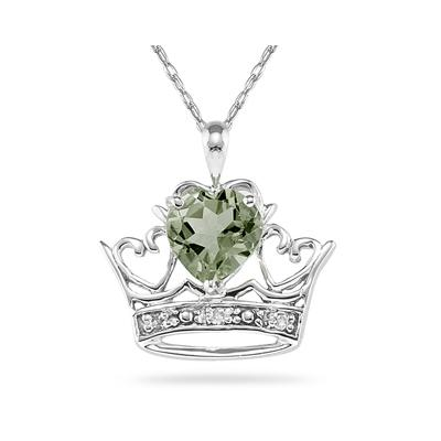 Green Amethyst & Diamond Crown Heart Pendant in 10K White Gold