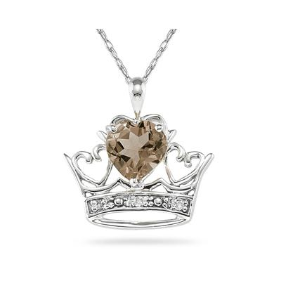 Smokey Quartz & Diamond Crown Heart Pendant in 10K White Gold