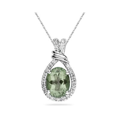 Oval Shaped Green Amethyst and Diamonds Pendant in 14k White Gold
