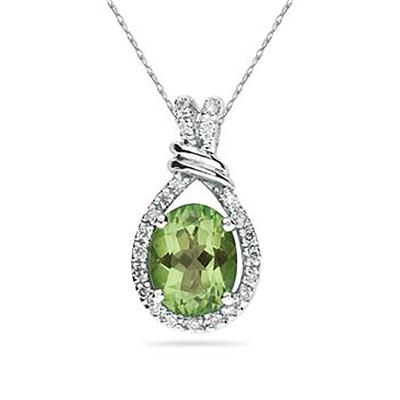 Oval Shaped Peridot and Diamonds Pendant in 14k White Gold