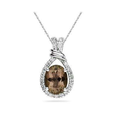 Oval Shaped Smokey Quartz and Diamonds Pendant in White Gold
