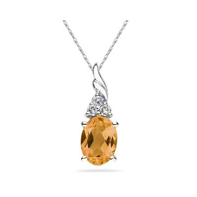 Citrine and Diamond Pendant 10k White Gold
