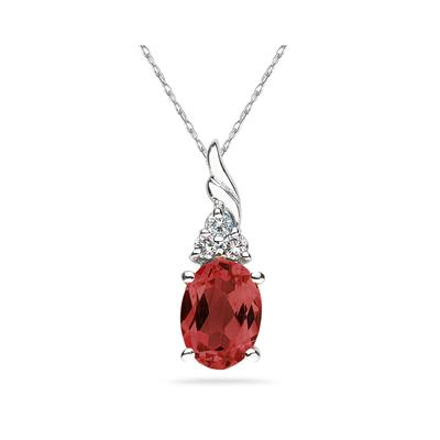 Garnet  and Diamond Pendant 10k White Gold