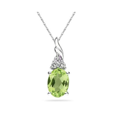 Peridot and Diamond Pendant 10k White Gold