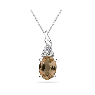 Smokey Quartz and Diamond Pendant 10k White Gold