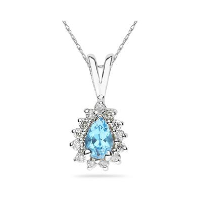 6X4mm Pear Shaped Blue Topaz and Diamond Flower Pendant in 14k White Gold