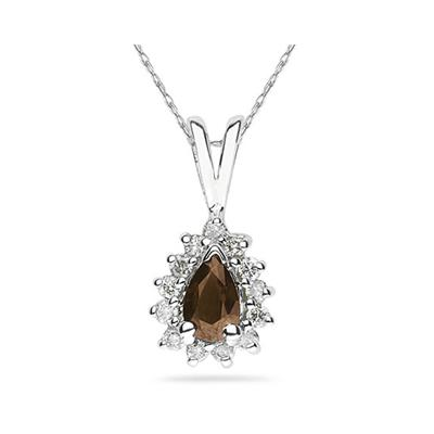 6X4mm Pear Shaped Smokey Quartz and Diamond Flower Pendant in 14k White Gold
