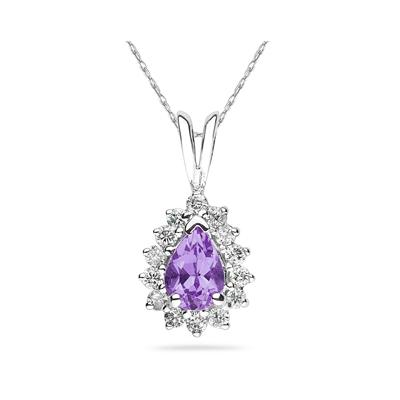 7X5mm Pear Shaped Amethyst and Diamond Flower Pendant in 14k White Gold
