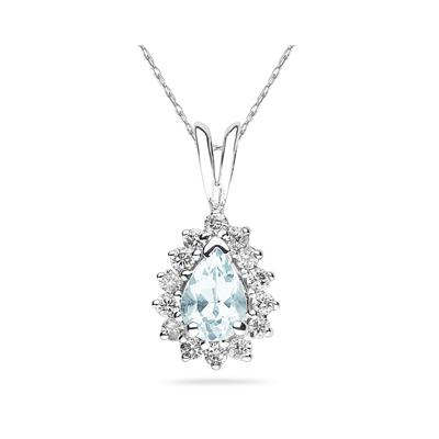7X5mm Pear Shaped Aquamarine and Diamond Flower Pendant in 14k White Gold