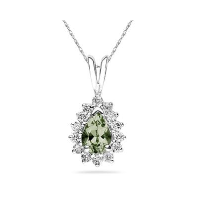 7X5mm Pear Shaped Green Amethyst and Diamond Flower Pendant in 14k White Gold