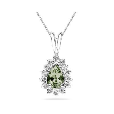 Pear Shape Green Amethyst & Diamond Pendant in 14K White Gold