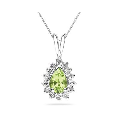7X5mm Pear Shaped Peridot and Diamond Flower Pendant in 14k White Gold