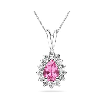 Pear Shape Pink Topaz  & Diamond Pendant in 14K White Gold