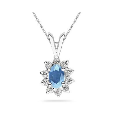 6X4mm Oval Shaped Blue Topaz and Diamond Flower Pendant in 14k White Gold