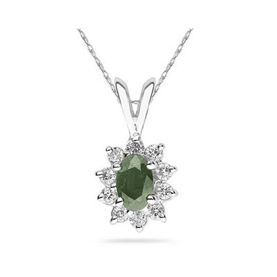 6X4mm Oval Shaped Green Amethyst and Diamond Flower Pendant in 14k White Gold