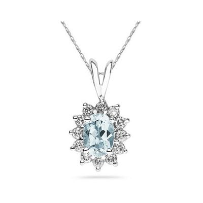 7X5mm Oval Shaped Aquamarine and Diamond Flower Pendant in 14k White Gold