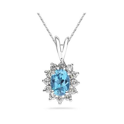 7X5mm Oval Shaped Blue Topaz and Diamond Flower Pendant in 14k White Gold