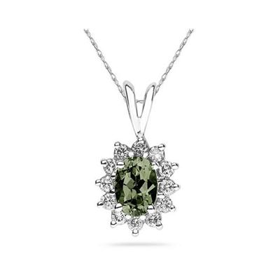 7X5mm Oval Shaped Green Amethyst and Diamond Flower Pendant in 14k White Gold