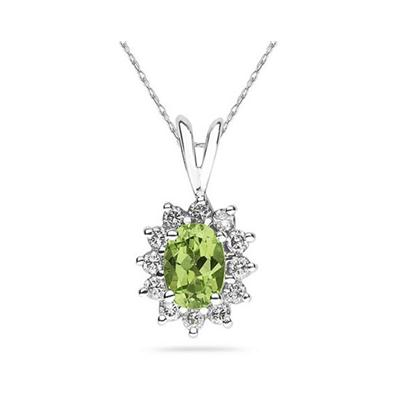 7X5mm Oval Shaped Peridot and Diamond Flower Pendant in 14k White Gold