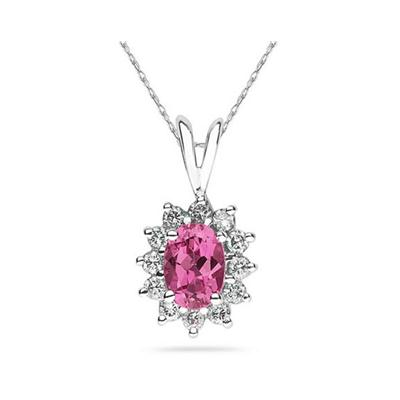 7X5mm Oval Shaped Pink Topaz and Diamond Flower Pendant in 14k White Gold