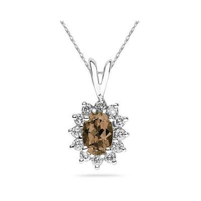 Oval Shape Smokey Quartz & Diamond Pendant in 14K White Gold