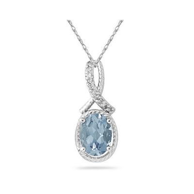 Oval Shape Aquamarine and Diamond Pendant in 10K White Gold