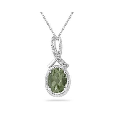 Oval Shape Green Amethyst and Diamond Pendant in 10K White Gold