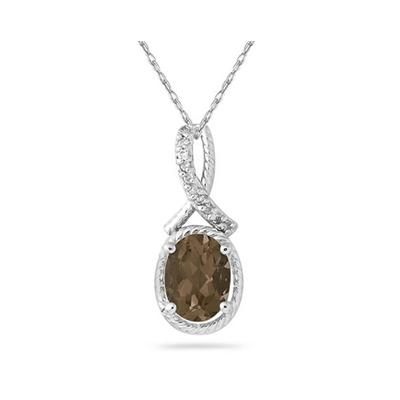 Oval Shape Smokey Quartz and Diamond Pendant in 10K White Gold
