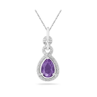Pear Shape Amethyst and Diamond Pendant in 10K White Gold