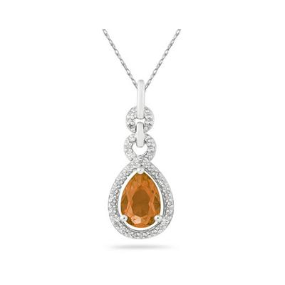 Pear Shape Citrine and Diamond Pendant in 10K White Gold