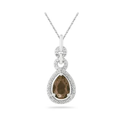 Pear Shape Smokey Quartz and Diamond Pendant in 10K White Gold