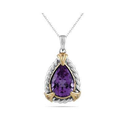 Pear Shape Amethyst and Diamond Pendant 14K Yellow Gold and Silver