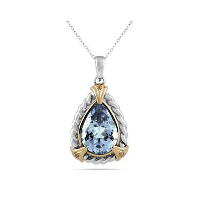 Pear Shape Aquamarine and Diamond Pendant 14K Yellow Gold and Silver