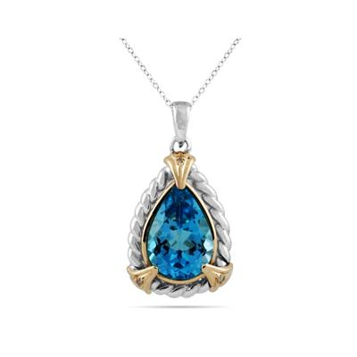 Pear Shape Blue Topaz and Diamond Pendant 14K Yellow Gold and Silver