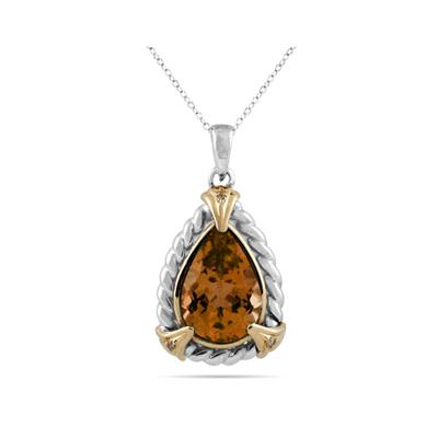 Pear Shape Citrine and Diamond Pendant 14K Yellow Gold and Silver